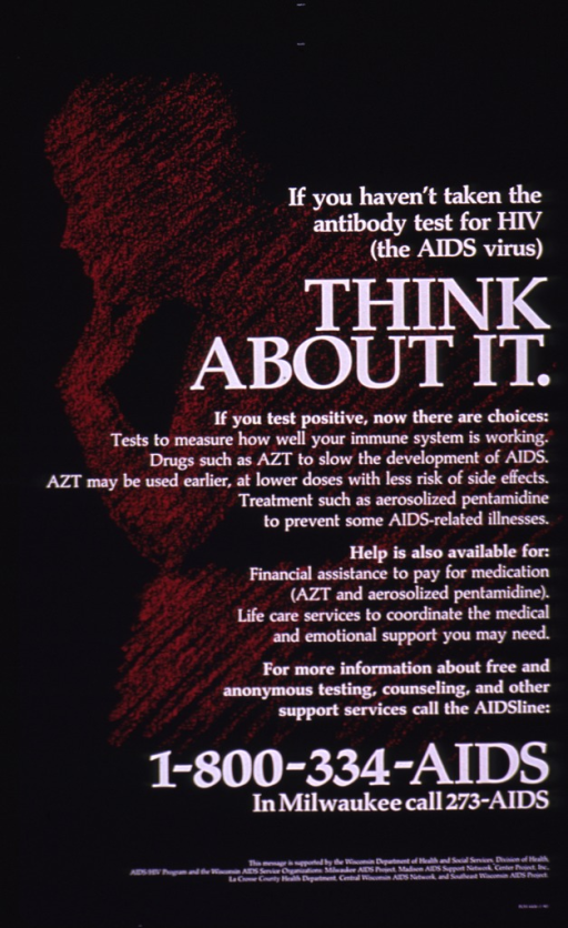 <p>Predominantly purple poster with white lettering.  Title near upper right corner.  Text explaining test and possible drug therapies for AIDS and support services dominates poster.  A magenta silhouette suggestive of Rodin's sculpture &quot;The thinker&quot; is visible in the background.  Publisher and sponsor information at bottom of poster.</p>