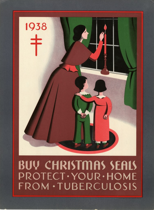 <p>Multicolor poster with red and light brown lettering.  The illustration is an interior scene in a home:  a woman lights a candle that rests on a window sill, while two children, one with her hand on the shoulder of the other, watch.  The anti-TB emblem of the Christian double-barred cross (i.e. the Cross of Lorraine) appears below '1938' in the upper left corner.</p>
