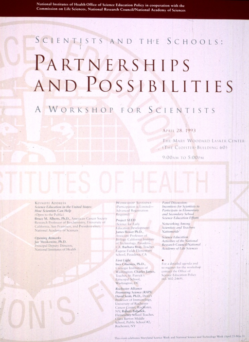 <p>The background is the seal of the National Institutes of Health.  The rest is text, listing the workshop topics and speakers.</p>