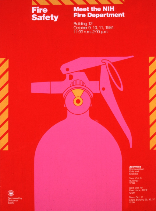 <p>Red poster with safety markings along the top and sides.  The center of the poster has a pink fire extinguisher.  Dates, times, and locations are provided.</p>