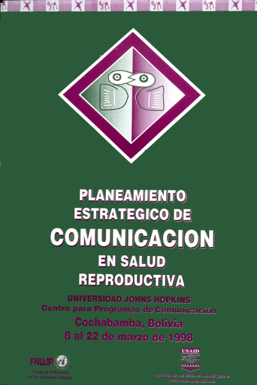 <p>Predominantly green poster with white and purple lettering.  Visual images in upper portion of poster are abstract designs suggestive of indigenous South American art.  The largest design may represent two birds with interlocking beaks.  Title below design announces a conference held in Bolivia in March 1998.  Sponsor information at bottom of poster.</p>