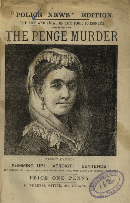 <p>Image of pamphlet cover with a two-thirds portrait of Harriet Staunton, wearing a shawl on her head, in the center.</p>