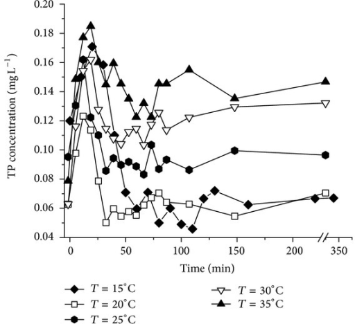 Concentration changes of TP in the temperature effect experiments.