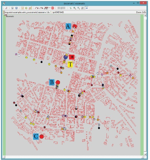 Vehicular network scenario in OMNeT++ (red circles A, B, C = RSUs//blue circle ∗ = video client//yellow square T = background traffic source//small circles = other vehicles//red rectangles = buildings).