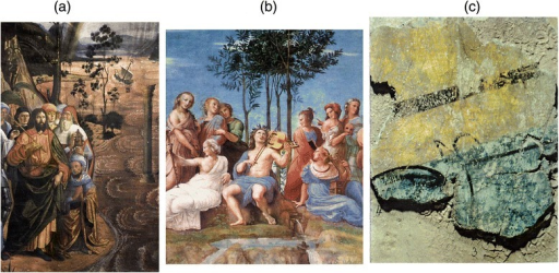 "Details of frescoes from the Sistine Chapel or ancient Vatican Rooms (Vatican City). (a) C. Rosselli, ""Il Passaggio del Mar Rosso""; (b) Raffaello, ""Il Parnaso""; (c) fragment from the ""Room of Heliodorus"" glued on pottery support."