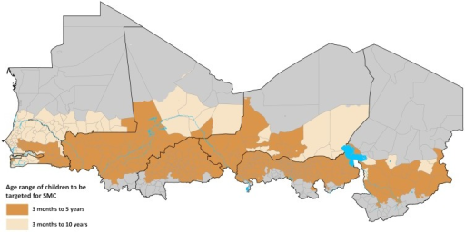 Map of the Sahel showing the health districts that are not suitable for SMC targeting (grey n = 119) and SMC suitable health districts (light to dark brown, n = 478) classified by age class of target children.The SMC suitable districts were those where PAPfPR2-10 in 2000 was ≥5% and 80% of the population lived in areas where ≥60% or more of the annual total rainfall occurs in any three consecutive months. In SMC health districts where PAPfPR2-10 in 2010 was ≥5% to 10% (n = 123) children 3 months to <10 years of age were targeted for SMC while those where it was >10% (n = 355) children 3 months to <5 years of age were targeted. *All inputs are either generated at or resampled to surfaces of 1 x 1 km spatial resolutions. A) Monthly Africa Rainfall Estimates version 2 (RFE 2.0) data from 2002–2009 at 10 × 10 km spatial resolution [NOAA 2013] were used to generate average long term monthly rainfall which are then used to define average seasonality (Section D in S1 File); B) Maps of total population are disaggregated by age structure (3 months to below 5 years; 5 years to below 10 years) using data from census and household surveys and by urban and rural using population density, night time lights and other land cover classifications (Section C in S1 File). Countries should use most recent census and survey data for population projections and age categorisations; C) For all countries except Niger and Mauritania PfPR2-10 data from the period 1980–2012 were used to estimate endemicity from 2000 and 2010 (Section F in S1 File). D) A map based on the presumed relationship between P. falciparum transmission, temperature and rainfall to define the length of transmission seasons was downloaded as a grid surface from International Research Institute for Climate and Society website [IRI URL]. The map was at spatial resolution of approximately 50 x 50 km and was resampled to 1 x 1 km (Section E in S1 File); E) The approach by Cairns et al (2012) that identified acute malaria seasonality as areas where 60% or more of the annual total rainfall occurred in three consecutive months was used. This approach had a high sensitivity (95%) of areas where over 60% of malaria cases occurred in 4 consecutive months (Section D in S1 File,); F) Data from a variety of international and national sources were used to develop the most recent boundaries of health districts (Section B in S1 File). Due to population growth and changes in governance health districts change frequently and countries should continuously update these boundary changes. G-J) Health districts where ≥80% of population lived in areas of acute malaria seasonality and had 2000 PAPfPR2-10 ≥ 5% were considered suitable for SMC (Section F in S1 File). This endemicity threshold allowed for the inclusion of areas where current risk is low but where receptive risk is still high. Population estimates by age class, urban and rural were extracted to each health district (S1 File); K) In districts where 2010 PfPR2-10 was 5% to ≤10%, children aged 3 months to <10 years were targeted for SMC and 3 to months to <5 years in higher transmission districts (Section F in S1 File). Countries can update the contemporary description of risk using most recent survey data. A decision also needs to be made on whether or not to include urban areas. L) The median number of transmission months was extracted for each health district from the climate based map of length of transmission (Section E in S1 File) and was multiplied by the estimated number of SMC targeted children and the 1 SP and 3 AQ tablets per child per month (Section F in S1 File).