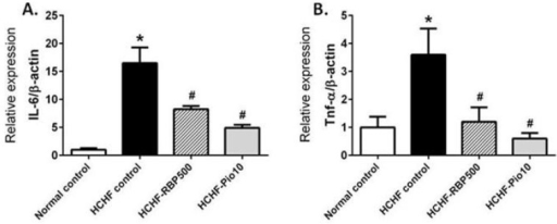 Effects of RBP on expression levels of inflammatory genes Il-6 (A); Tnf-α (B); Mcp-1 (C); Nos2 (D) and Il-10 (E) in HCHF-fed rats. Oral administration of RBP 500 mg/kg or pioglitazone 10 mg/kg daily for 6 weeks significantly decreased the expression of Il-6, Tnf-α, Mcp-1 and Nos2. RBP 500 tended to increase expression of the anti-inflammatory gene Il-10 as compared to the HCHF-control group (*: p < 0.05, significant increase as compared to normal controls; #: p < 0.05, significant decrease as compared to HCHF-control group).