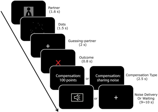 The task in the first phase. Each trial began with a fixation and then a cue indicating which partner was paired with the participant for the current trial. The participant was told that his/her partner had to quickly estimate the number of dots on the screen by pressing a corresponding button to indicate whether his/her estimation was more or less than a number (randomly chosen from 19, 20, and 21) which appeared on the next screen. The outcome of the estimation (correct versus incorrect) was communicated to the participant on the next screen. After a correct performance, the partner received 100 monetary tokens as a reward and the next round began. After an incorrect performance, the participant was threatened with the possibility of receiving noise stimulation, and the partner had the chance to choose from two compensation options: paying 100 tokens to the participant or bearing the noise for the participant. The partner's decision was communicated to the participant on the screen. Finally, the noise stimulation was delivered to the participant if his/her partner decided to pay money, or to his/her partner if the partner decided to bear the noise stimulation for the participant.