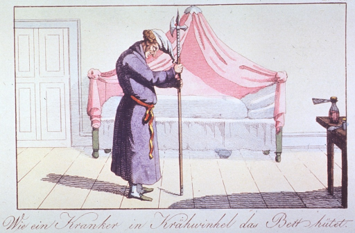 <p>Interior view of a patient's room:  A man asleep on his feet, wearing robe and night-cap, holding or supported by a lance; canopy bed in the background; table with jar to the right.</p>