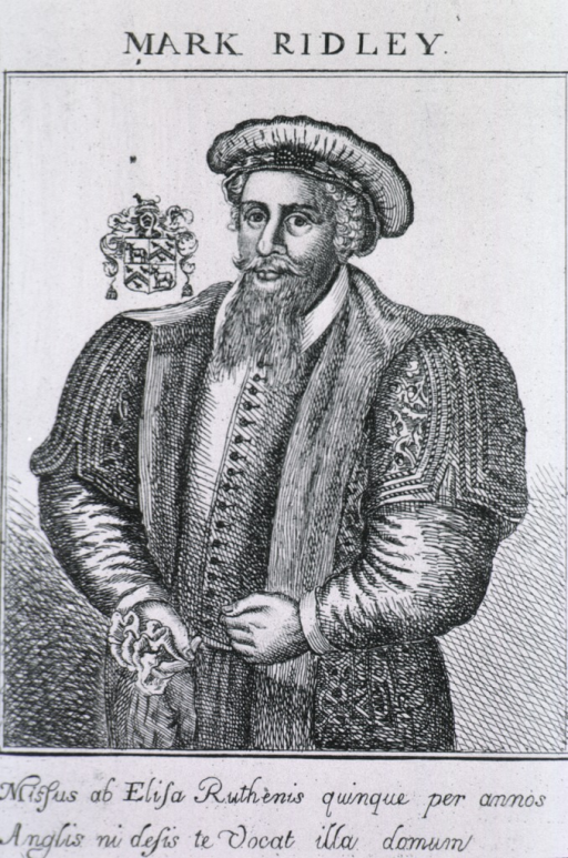 <p>Three quarter length, standing figure, wearing robe and cap; coat-of-arms.</p>