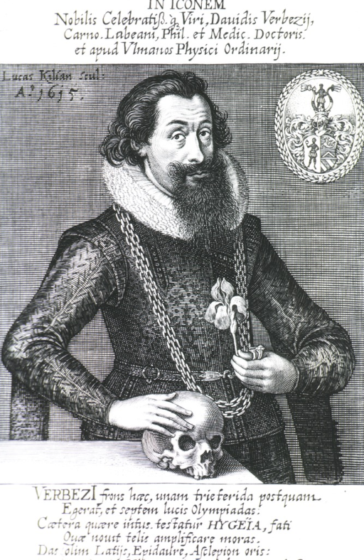 <p>Standing, half length, right pose.  One hand on skull, one holding flower.  Coat-of-arms.</p>