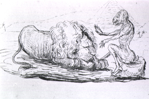 <p>An animal sits on a stone and waves its hands in front of a sleeping lion. A pyramid rises in the background.</p>