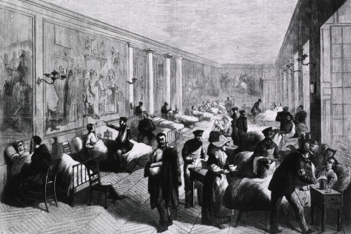 <p>Wounded soldiers in the Palace of Versailles.</p>