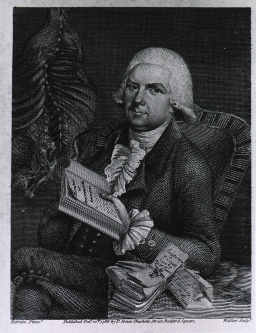 <p>Three quarters length, seated with his writings, and part of cadaver with curved spine in background.</p>