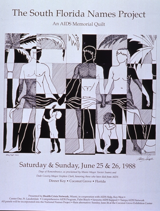 <p>White poster with black lettering announcing memorial event, June 1988.  Also lists dates, location, and sponsors.  Title at top of poster.  Dominant visual image is an abstract illustration in which three adults stand, holding hands and a banner.  Two children play by their feet.  A quilt-like image is alternately the background for the people or superimposed on them.  There are also palm trees on the sides of the illustration.  All remaining textual information below image.</p>