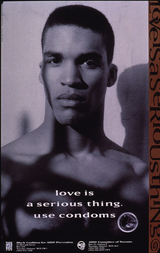 <p>The poster shows a photograph of a young black male from the shoulders up. The picture of a condom is at the bottom of the photograph.</p>