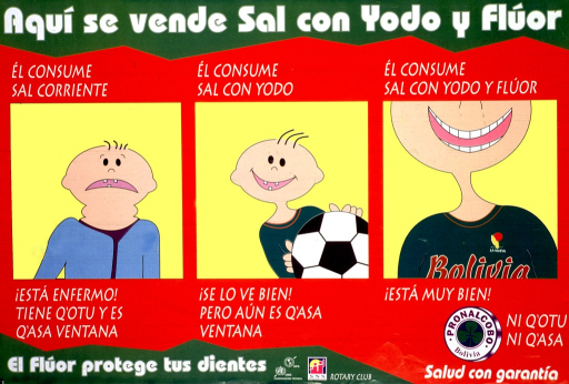 <p>Multicolor poster with white lettering.  Title at top of poster.  VIsual images are illustrations of boys who have consumed different types of salt.  The boy who had &quot;current&quot; or plain salt has few teeth and a swollen neck suggestive of a goiter.  The boy who had iodized salt has few teeth and a normal neck.  The boy who had iodized and fluoridated salt has a mouth full of teeth and a healthy neck.  Note in lower left corner indicates that fluoride protects teeth.  Publisher and sponsor information in lower right corner.</p>