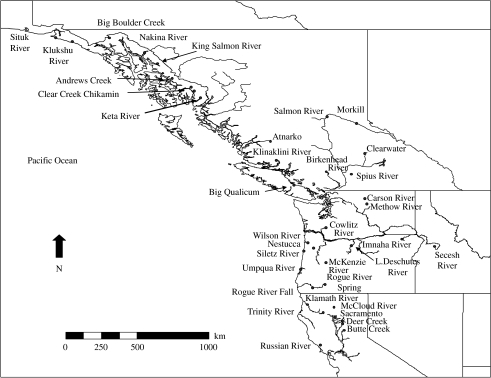 Map showing the location of the 42 Chinook salmon populations from California to Alaska.