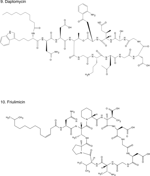 Chemical structures of select antibiotics active against Gram-positive cocci.