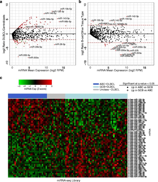 Differential expression analysis reveals novel and known miRNAs. Differential expression for each miRNA was calculated using the Wilcoxon ranked-sum test, and P values were multiple-test corrected using the BH algorithm. (a) MA (Log ratio (M) versus mean average (A) expression) plot showing differentially expressed miRNAs comparing DLBCL to centroblasts. (b) MA plot showing miRNA that are differentially expressed between the B-cell data sets (DLBCL and centroblasts) and all other TCGA cancer data sets. In both MA plots, significantly differentially expressed known miRNAs are represented by red dots, while significantly differentially expressed candidate novel miRNAs are represented by green dots. (c) Heatmap of differentially expressed miRNAs between the ABC and GCB DLBCL subtypes. Column labels represent the type of sample: Dark Blue: ABC-DLBCL; Light Blue: GCB-DLBCL; Gray: Unclassified-DLBCL. Row labels indicate if the miRNA is more abundant in a particular category of samples.