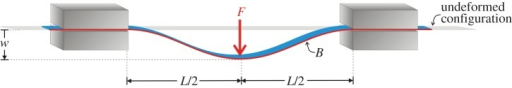 Sketch of the structure showing dripping of an elastic rod. An elastic planar rod, of bending stiffness B, is constrained with a frictionless sliding sleeve at both ends. The distance between the two constraints, L is fixed, but the rod between the two constraints has a variable length, function of the transverse load F applied at midspan.