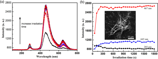 Electron irradiation effect on CL spectrum of silicon nanoribbons.(a) Evolution of CL spectrum with electron irradiation time. (b) Intensity change of UV band, blue band, and red band.