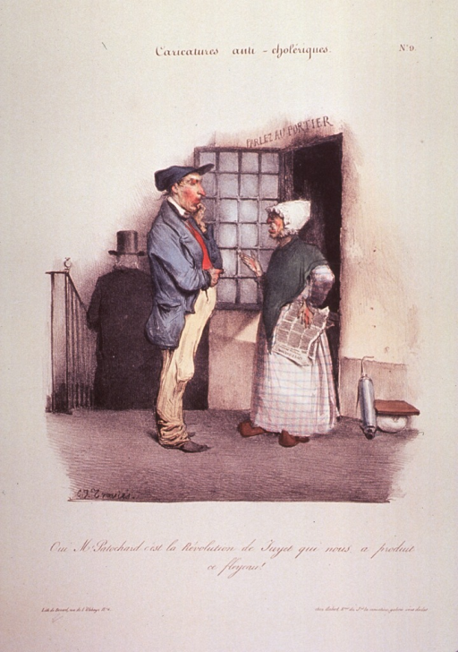 <p>A man and a woman, standing outside a building; another man walking down steps in the background.  A bed pan and clyster are against the wall.</p>
