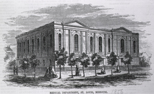 <p>Exterior view: corner view of building with large curved windows and surrounded by fencing; people are on the sidewalk in front of the building; trees line the street.</p>
