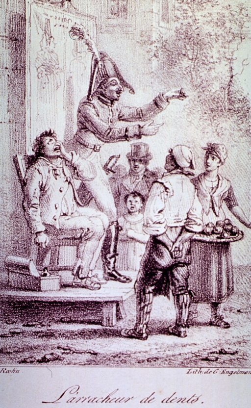 <p>An itinerant dentist displays the tooth he has just extracted from a man to a small group that had gathered to watch.</p>
