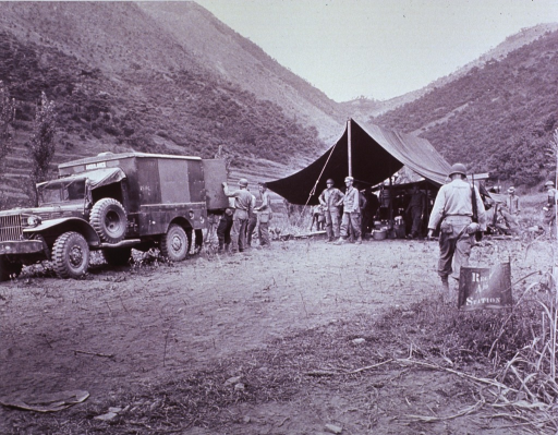 <p>Photograph of aid station in Korea, 1950.</p>