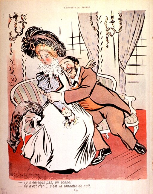 <p>A physician amorously embraces a young lady in his office, while she worries that someone may walk in on them.</p>