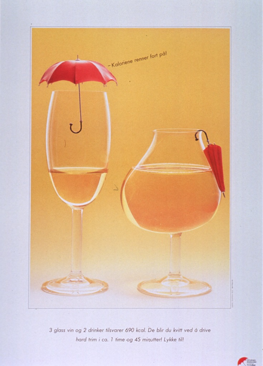 <p>White poster with black lettering.  Visual image is a reproduction of a color photo and it dominates the poster.  Photo shows a tall, thin wine glass with an umbrella covering the opening and a shorter, rounder glass (similar to a brandy snifter) with a closed umbrella hanging on the edge of the glass.  The shorter glass clearly holds more wine.  Caption, next to tall glass, deals with calories accumulating quickly.  Title below photo.  Title appears to sugggest that it takes about one hour and forty-five minutes of vigorous exercise to burn the calories in 3 glasses of wine or 2 drinks.  Publisher and sponsor information in lower right corner.</p>