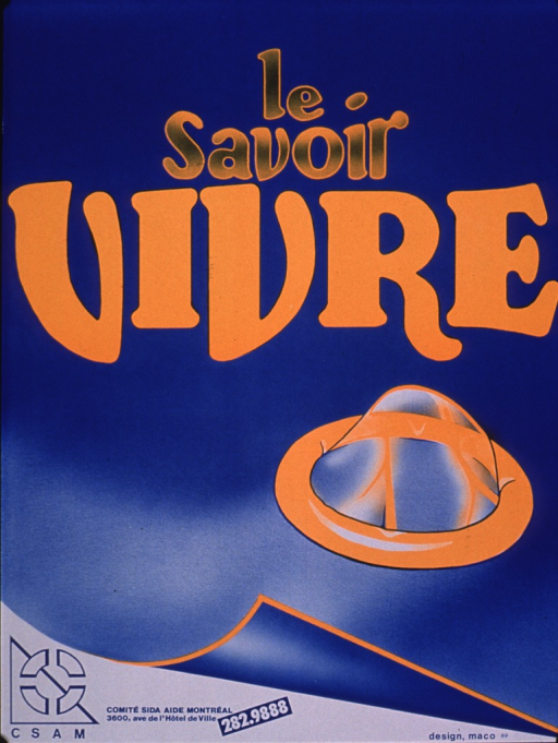 <p>Poster in blue and orange, the visual consisting of the representation of a condom. The logo for the Comite sida aide Montreal and its acronym, CSAM, is at the bottom of the poster.</p>