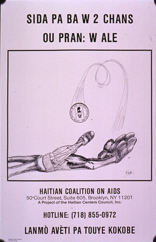 <p>Predominantly white poster with black lettering.  Title at top of poster may address not taking chances with AIDS.  Visual image is an illustration of a skeletal hand flipping a coin.  The publisher's logo is on the coin.  Publisher information, a hotline number, and note below illustration.</p>