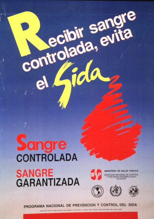 <p>English translation of the title: Avoid AIDS by ensuring that the blood you receive is guaranteed not to have been contaminated.  A funnel-shaped red swirl is either converging toward, or departing from, the &quot;a&quot; in &quot;sida.&quot;  A thick red bar runs along most of the bottom of the poster.  Logos for OPS, WHO and SIDA are in the lower right corner of the poster.</p>