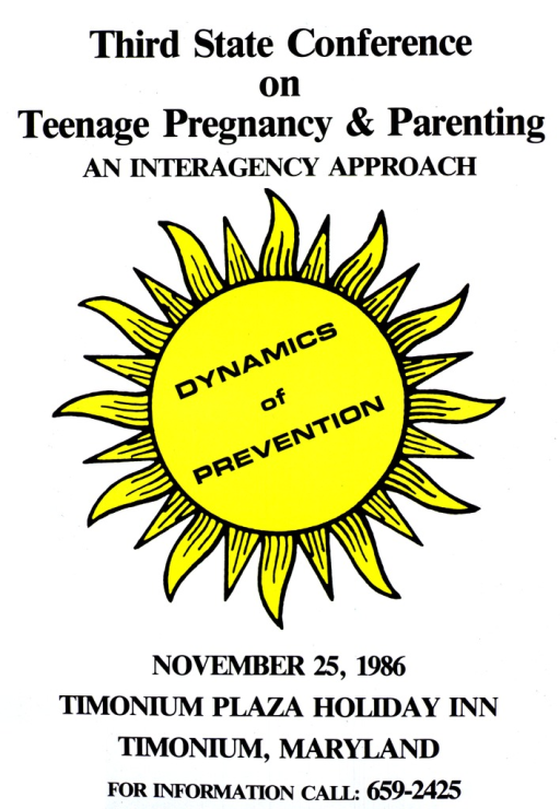 <p>White poster with black lettering.  Conference name at top of poster.  Visual image is a radiant yellow sun, with title superimposed on center.  Date, location, and phone number for conference at bottom of poster.</p>