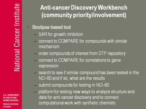 Anti-cancer Discovery Workbench (community priority/involvement).
