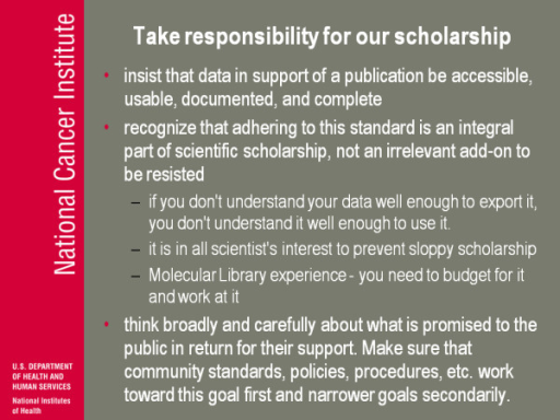 Take responsibility for our scholarship.