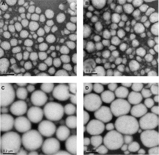Transmission electronic microscopy images of the nanoemulsions ×100,000 magnification.Notes: (A) LP20, (B) LP80, (C) SP80, and (D) SP20 (scale bars 0.2 µm).Abbreviations: LP20, soybean lecithin and polysorbate 20; LP80, soybean lecithin and polysorbate 80; SP20, sorbitan monooleate and polysorbate 20; SP80, sorbitan monooleate and polysorbate 80.