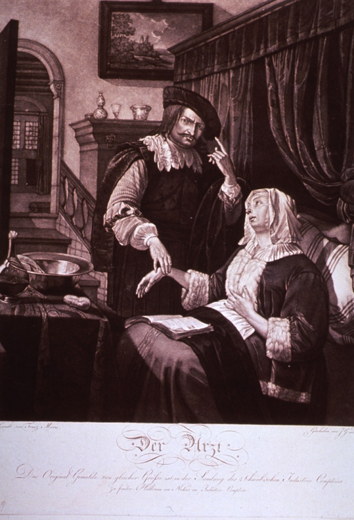<p>An interior scene, where a physician takes a woman's pulse.</p>