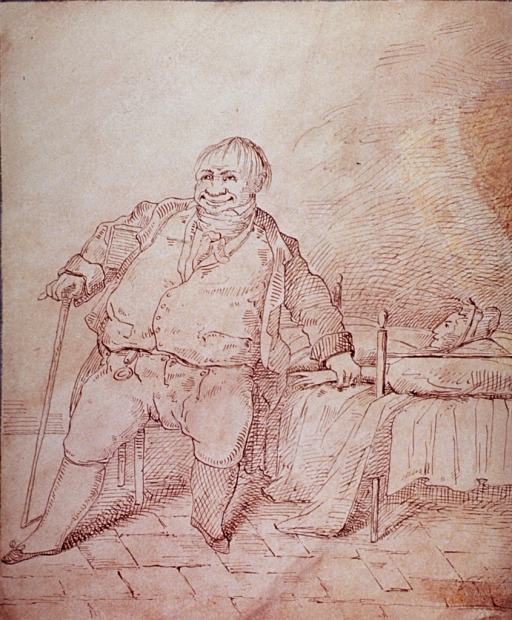<p>Interior scene of a rich physician sitting at the bedside and taking the pulse of a poor, sick woman.</p>