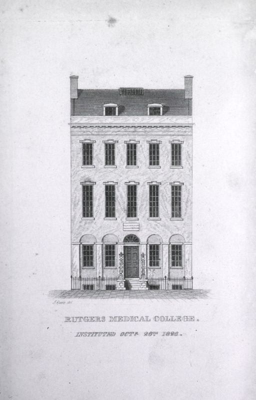 <p>Exterior view: three story salt box style building with an English basement.  This is the frontispiece for the inaugural discourse delivered by Dr. David Hosack at the opening of Rutgers Medical College on November 6, 1826.</p>