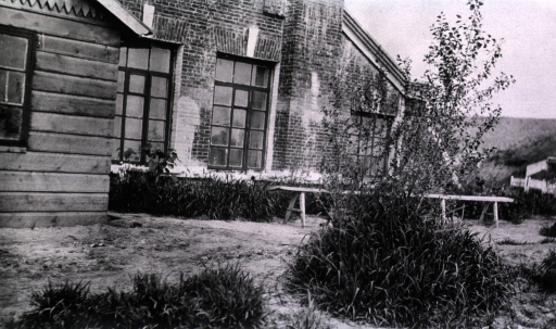<p>The front of a sod house hospital.</p>