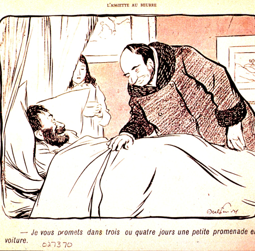 <p>A physician promises a bedridden patient that he will be able to take a carriage ride in just a few days.</p>