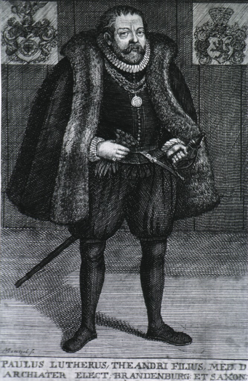 <p>Standing, in knee breeches with sword; coat of arms.</p>