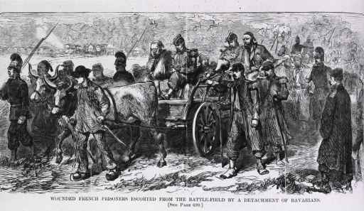 <p>Wounded French prisoners escorted from the battlefield [Worth] (in ox-drawn wagon) by a detachment of Bavarians.</p>