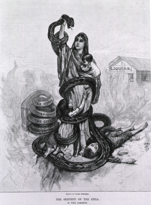 <p>The Serpent of the Still [poem by Will Carleton and illustration by J. Shepherd against alcohol].</p>