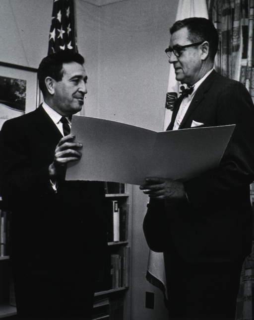 <p>Showing Dr. James Shannon with Dr Jerome Wiesner, Provost at MIT.</p>