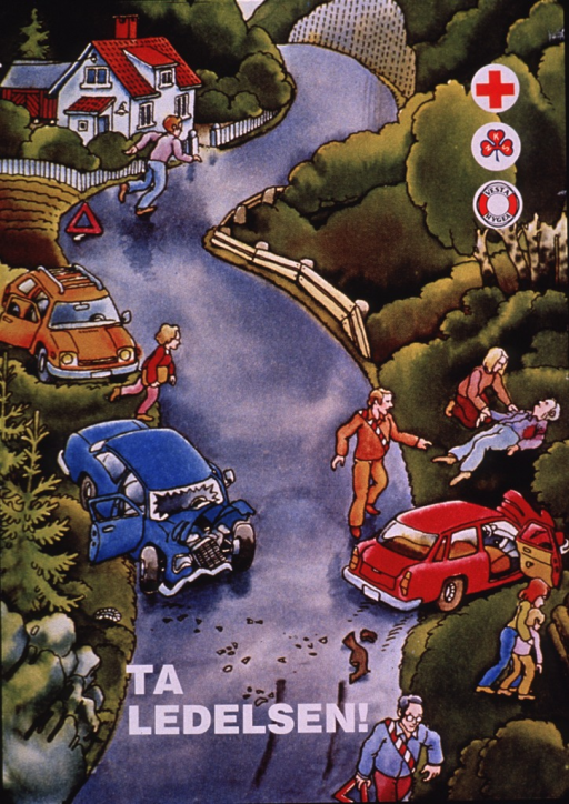 <p>Multicolor poster with white lettering.  Visual image is an illustration of the aftermath of a car crash.  People are setting up warning signs on the road and tending to the victims; one person runs away from the scene, as if to get more help.  Publisher and sponsor logos superimposed on illustration in upper right corner.  Title near bottom of poster.  Title addresses leadership or management and may urge taking charge.</p>