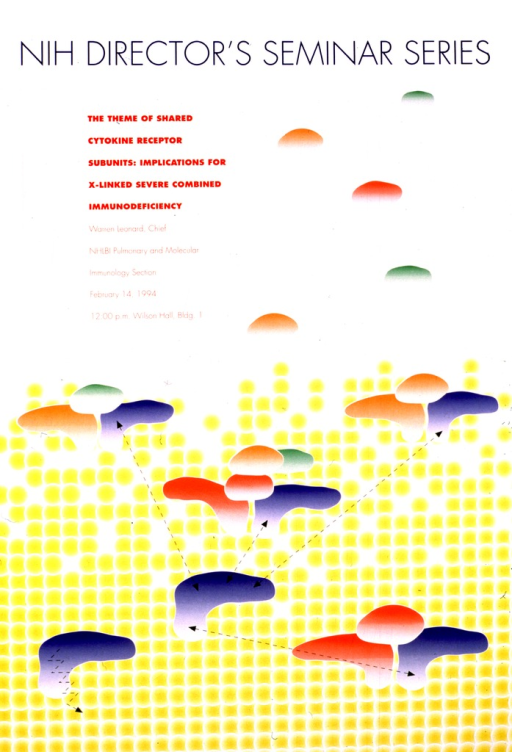 <p>There are linked yellow circles forming a background, which break apart from each other toward the top of the picture.  Superimposed on this are boomerang-shaped blue and red shapes, and oval orange and green shapes.  There are arrows pointing between the groupings of shapes, and ovals floating away toward the top of the poster.</p>